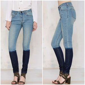 NWT Nasty Gal Dip Dyed High Waisted Jeans